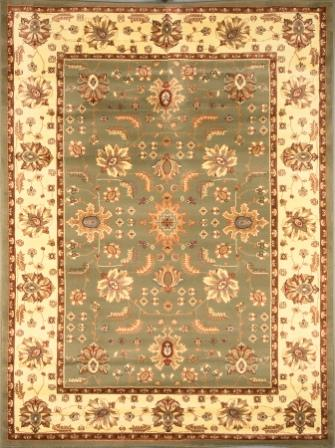 Madlena Floral Border 5×8 Area Rug (Green and Ivory)