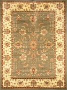 Madlena Floral Border 5x8 Area Rug (Green and Ivory)