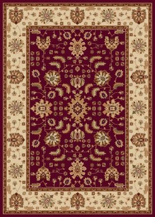 Madlena Floral Border 5×8 Area Rug (Red and Ivory)