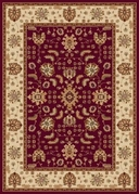 Madlena Floral Border 5x8 Area Rug (Red and Ivory)