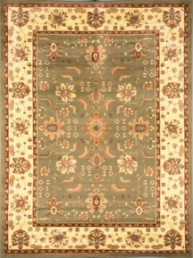 Madlena Floral Border 8x11 Area Rug (Green and Ivory)