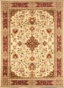 Madlena Framed  Floral  Area Rug (Ivory /Red)