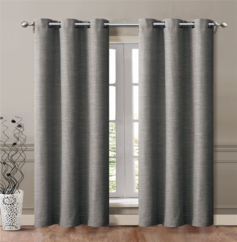 Maxwell Linen Look Grommet Curtain (Grey) - Set of 2