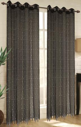 Mia Lace Grommet Curtain (Black)