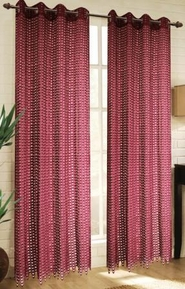 Mia Lace Grommet Curtain (Burgundy)