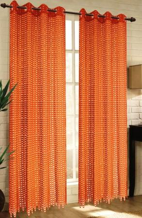 Mia Lace Grommet Curtain (Orange)