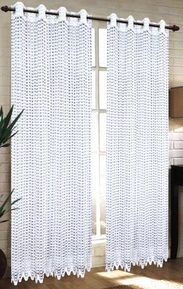 Mia Lace Grommet Curtain (White)