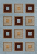 Modern Weave Blue Interlocking Squares 8x11