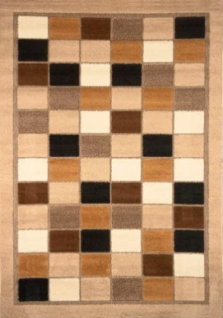 Modern Weave Taupe Squares 5×8