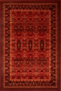 Monaco Oriental Crest Multi Border Wool 5x8 Area Rug (Red)