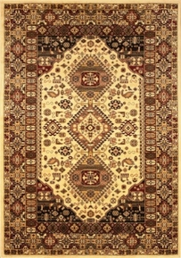 Monaco Oriental Tapestry Wool 5x8 Area Rug (Cream)