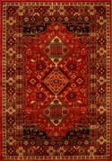 Monaco Oriental Tapestry Wool 5x8 Area Rug (Red)