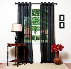Oakland Black Grommet Sheer Panel