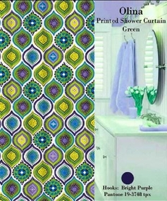 Olina Shower Curtain Set (Green)