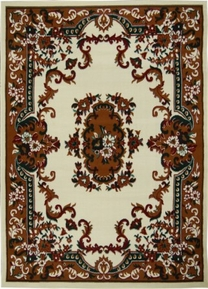 Oriental Flower Premium 8x11 Area Rug (Cream)