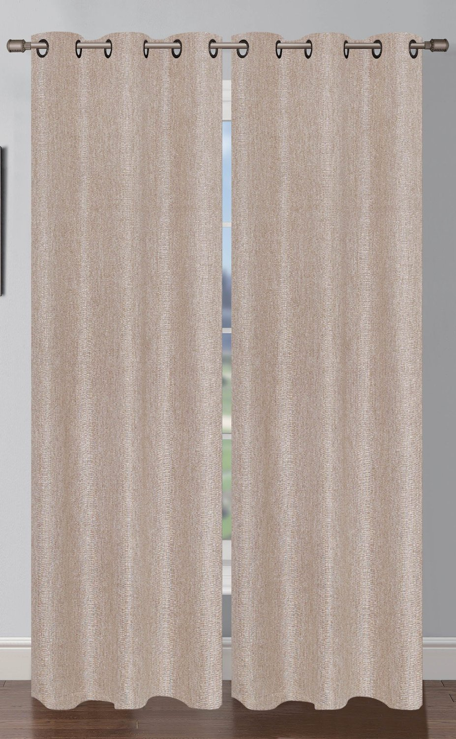 Oscar Faux Linen Curtain (2 Piece Set) Natural