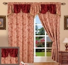 Paula Curtain with Attached Valance (Burgundy)