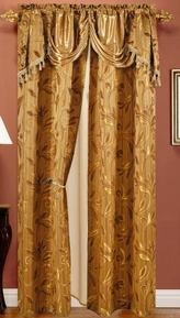 Paula Curtain with Attached Valance (Gold)