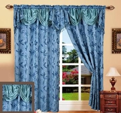 Paula Curtain with Attached Valance (Slate Blue)
