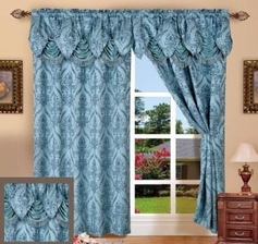 Penelope Curtain with Attached Valance (Blue)