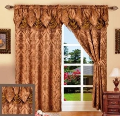 Penelope Curtain with Attached Valance (Brown)