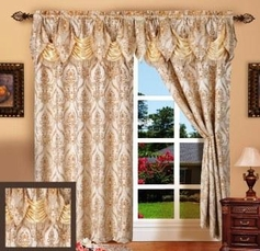 Penelope Curtain with Attached Valance (Beige)