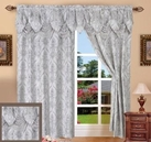 Penelope Curtain with Attached Valance (Silver Grey)