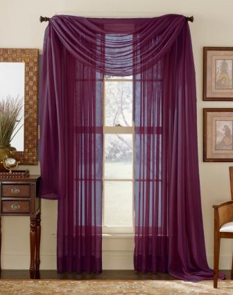 Plum Sheer Curtain Scarf
