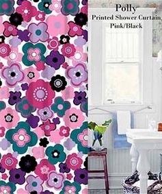 Polly Floral Printed Shower Curtain (Pink)