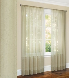 Primavera Crushed Sheer Curtain (Beige)