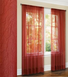 Primavera Crushed Sheer Curtain (Burgundy)