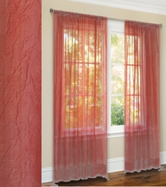 Primavera Crushed Sheer Curtain (Dusty Rose)