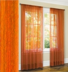 Primavera Crushed Sheer Curtain (Orange)