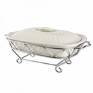Rectangular 2qt Ceramic Baker With Chrome Stand