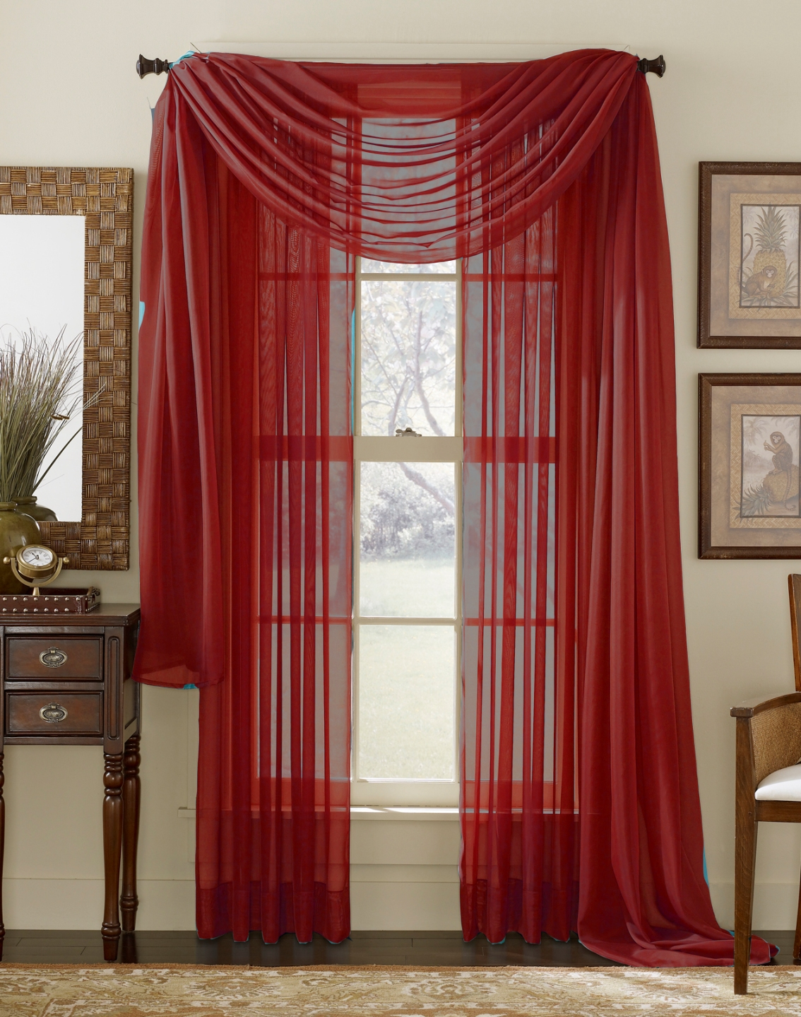 Red Sheer Curtain Scarf Moshells