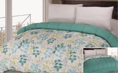 Reversible Comforter (Aqua / Green Leaf)
