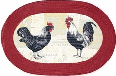 """Rooster 20""""x30"""" Oval Kitchen Rug"""