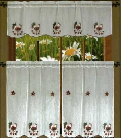 Rooster Sheer Kitchen Curtain Set
