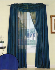 Royal Blue Silky Stripe Sheer Panel