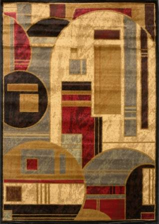 Royalty Meshing Shapes Area Rug (Red & Beige)