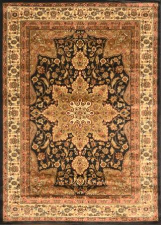 Royalty Center Abstract Area Rug 5×8 (Black)