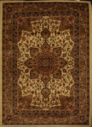 Royalty Center Abstract Area Rug 8x11 (Ivory)
