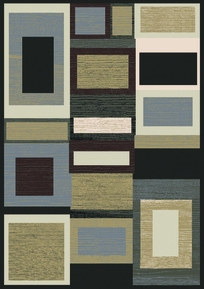 Royalty Cool Squares Area Rug (Black Multi)