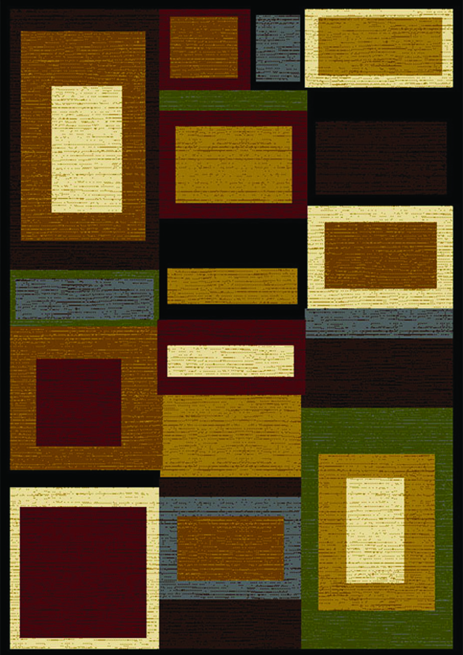 Royalty Cool Squares Area Rug (Brown Multi)