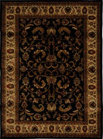 Royalty Fancy Scroll Area Rug 4×6 (Black)