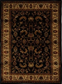 Royalty Fancy Scroll Area Rug 4x6 (Black)