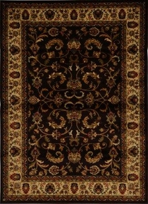 Royalty Fancy Scroll Area Rug 4x6 (Brown)