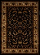 Royalty Fancy Scroll Area Rug 8x11 (Black)