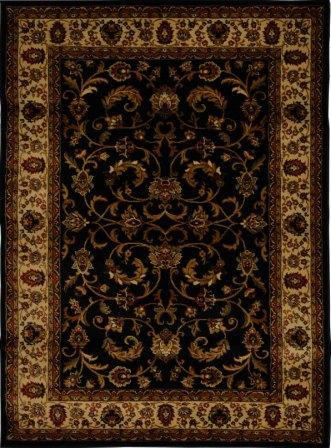Royalty Fancy Scroll Area Rug (Black & Ivory)