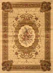 Royalty Framed Floral Area Rug 4x6 (Ivory)